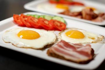 Breakfast - eggs, bacon, vegetables