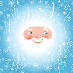 Santa looks at the frozen window