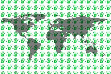 an image of a worldmap on handprint background