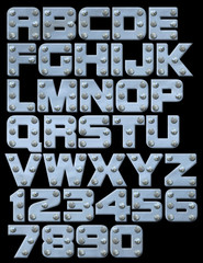 Riveted metallic alphabet you can compose