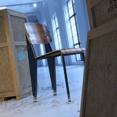 Vintage modern designer chair in loft with wood crates