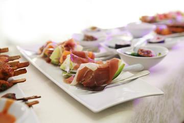 Fresh food on plates