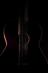 Six string guitar against a dark background
