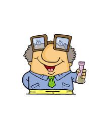 Cartoon man with tube