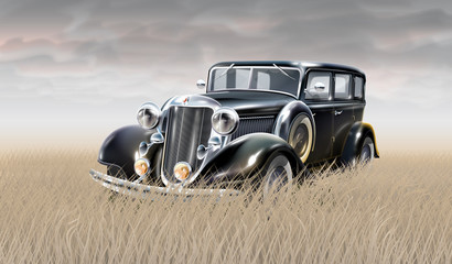 Illustration of vintage car in field of rye with grey sky