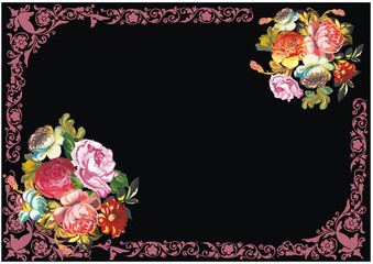 pink on black curled frame with roses