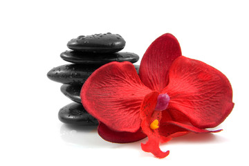Stacked black spa stones with silk orchid over white background