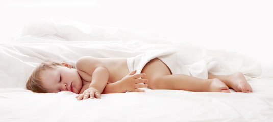 Baby sleeping in bed looking beautiful