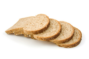 Four slices of bread over white background
