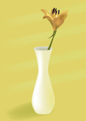 tulip in a yellow vase