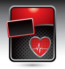 Heartbeat on red stylized advertisement