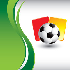 Soccer ball and penalty cards on green vertical wave backdrop