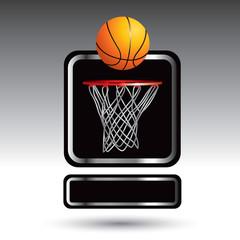 Basketball and hoop nameplate