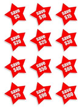 Save money stars - dollars