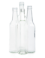 four transparent bottles