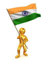 Men with flag. India. 3d