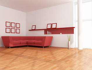minimalist red and white lounge