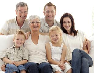 Portrait of family on sofa