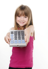 Cute adorable child holding remote control