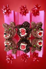 Kid's party creative werewolf cupcakes and gift bags with bows