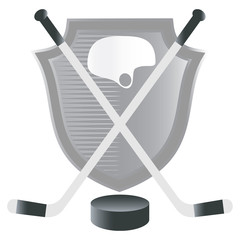 Ice hockey emblem on shield background.