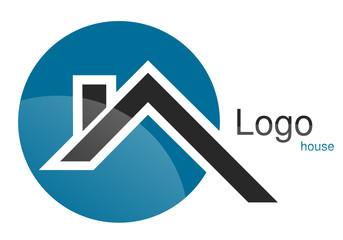 Logo maison toit rond gris bleu