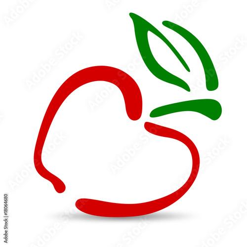 Mela stilizzata immagini e vettoriali royalty free su - Contorno di immagini di frutta ...