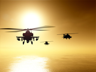 Silhouettes of helicopter over sunset