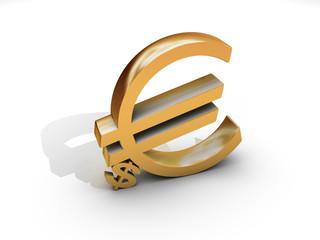 Euro and dollar symbol