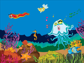 Wall Murals Submarine sea animals