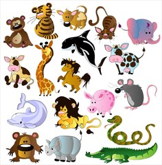 Poster de jardin Zoo Cartoon animals vector