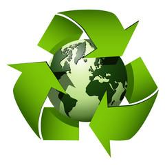 Recycle globe symbol