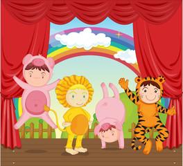 Deurstickers Regenboog kids