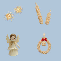 Sun, spiral, angel and wreath with bell