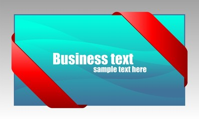 New red corner business ribbon on blue background.