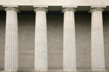 Architecural detail of stately Greek columns