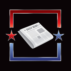 Newspaper in blue and red star frame