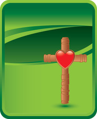 Christian cross with heart on green background