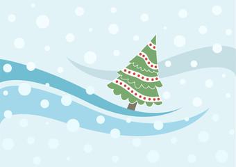 xmas card with xmas tree and snowfall