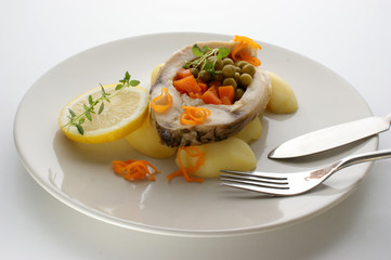 carp fillet with potato and organic vegetable