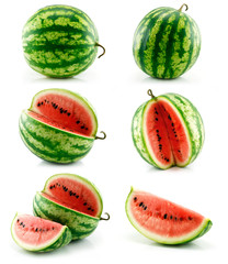 Set of Ripe Green Watermelon Fruits Isolated on White