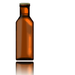 Beer bottle with its reflection isolated on white background