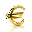 Golden euro sign on white