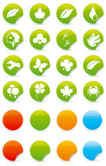 Set of green nature symbols with different shapes and colors