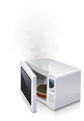 Plat carbonisé dans le four micro-ondes (reflet)