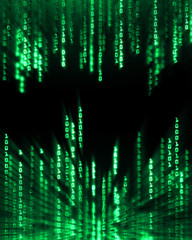 Binary code data flowing on display