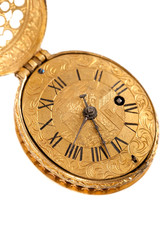 Close-up of antique yellow brass pocket watch