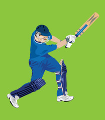 Cricket Batsman in Green Background