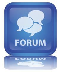 """ Forum "" Button (square - blue - vector - reflection)"