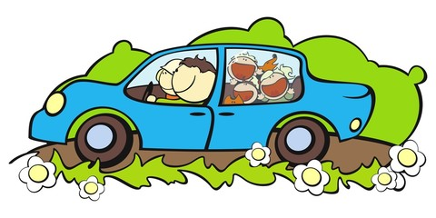 illustration of a happy family traveling by car